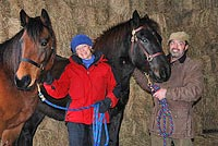 Mary and Charlie Casanova with their horses Jay and Midnight